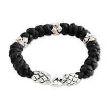 Braided Leather Bracelet Sterling Silver 925 Men's 'eagle Warrior' NOVICA Bali