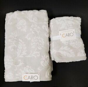 NEW 3 PC CARO WHITE+LIGHT GRAY,GREY FLORAL COTTON BATH+2 HAND TOWEL