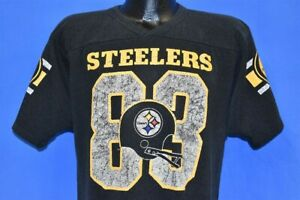 vintage 80s PITTSBURGH STEELERS #83 THEO BELL BLACK JERSEY CHAMPION t-shirt L