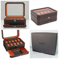 WOLF Windsor 10 Piece Watch Box & Jewelry Drawer BRAND NEW! Brown/Orange 458606