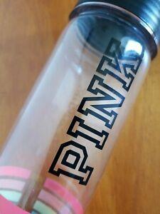 """VICTORIA'S SECRET """"PINK"""" 24 Fl oz CAMPUS Water Bottle Black Rainbow Stripes"""