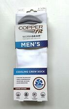 Copper Fit Mens Work Gear Cooling Crew Socks L/XL 2 Pr White Odor Reducing