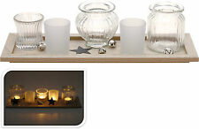 11 Piece Set of Glass Tea Light Holders with Wooden Tray & Christmas Bells