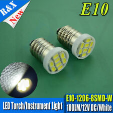 2x E10 Size 1206 8SMD LED White color 12V  DC Light bulb for Torch Headlight