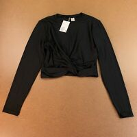 H&M Women's Size Large Black Long Sleeve Crop Draped Knot Hem Top NWT