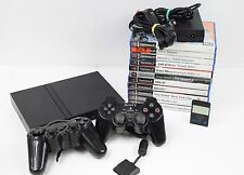 PLAYSTATION 2 SCPH-77003 PS2 SLIM CONSOLE 2 x CONTROLLERS GAMES BUNDLE