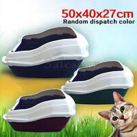 Large Quaity Pet Cat Kitty Litter Pan Tray Box With Rim 50X40X27cm