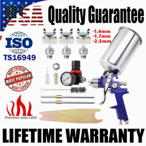 1.4/1.7/2.5mm HVLP Gravity Feed AIR SPRAY GUN w/ Regulator Gauge Paint Sprayer
