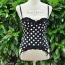 Femme GUEPIERE MICRO Sexy overbust Serre Taille Bustier NOIR POIS ROSE 90B SACHA