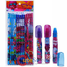 Dream Works Trolls Pencil Eraser 15pc Stationery Set Fragrance Eraser