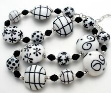 Sterling Silver Black & White Bead Necklace Art Glass Fashion Jewelry Polka Dot