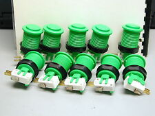 New, 10 long Green Genuine HAPP ARCADE BUTTONS SEGA MIDWAY w/Cherry switch