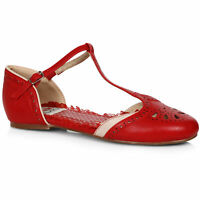 Bettie Page BP100-NANCY Red T-Strap Flat Shoe With Cutout Decor