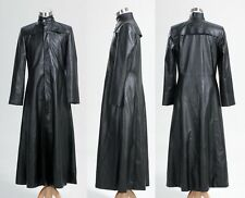Mens Neo Matrix Trench Coat Keanu Reeves Black Leather Trench Coat Gothic Jacket