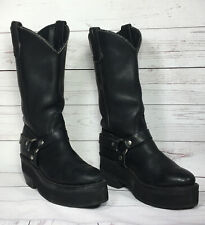 Double H  Women's W Custom Made Platform Leather Punk Motorcycle Boot Black 7.5