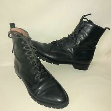 Joan & David Couture Women's 9 Black Leather Lace Up Combat Boots Lug Sole