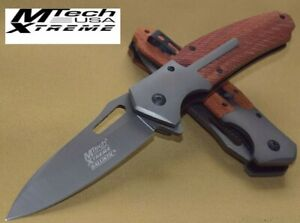 """M-TECH XTREME 3.5"""" SPRING ASSIST W/ RED WOOD + GREY TI-COATED HANDLE + P-CLIP"""