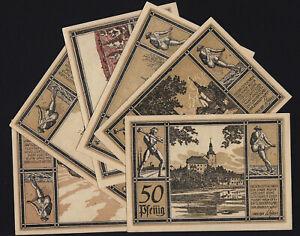 1921 Auma Germany Notgeld Lot 6 Rare Emergency Money Banknote Complete Set