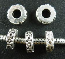 120pcs Tibetan Silver Flower Big Hole Spacers Beads 10.5x4mm ZN25148