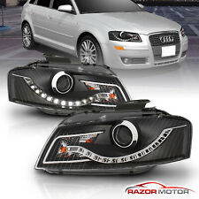 [R8 Style Led Strip] 2006 2007 2008 Audi A3 Projector Black Headlights Pair (Fits: Audi)