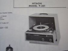HITACHI P-301 PHONOGRAPH - RECORD PLAYER PHOTOFACT