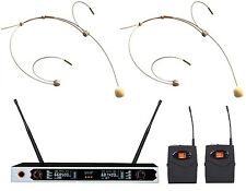 Dual Wireless Headset microphone w Colorful Lcd Display 2 Beige Nude Headset