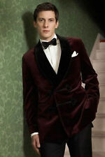 Men Elegant Designer Burgundy Smoking Jacket Blazer with Black Velvet lapel UK