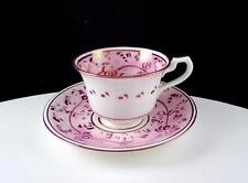 "ENGLISH ANTIQUE SHOP PINK LUSTER FLOWERS & LEAVES 1 7/8"" DEMITASSE CUP & SAUCER"
