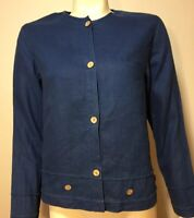 Coldwater Creek Womens Petite Small Blue Linen Wood Button Front Blouse Jacket