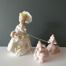 More details for napco ware crinoline lady vintage 50's chained french spaghetti pink poodles dog