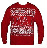 Red Funny Christmas Jumper Snow Robber Thief Snowman Nordic Sweatshirt