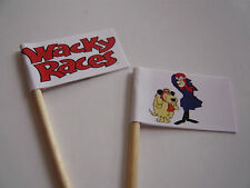 20 RETRO/VINTAGE CUPCAKE FLAGS/TOPPERS - WACKY RACES CHILDRENS BIRTHDAY PARTY