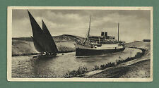 C1930'S POSTCARD THE SUEZ CANAL - AT THE CURVE OF EL GUIRSH, EGYPT