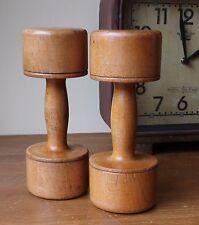 Antiguo pesos De Mancuernas De Madera. Decoración del Hogar, Gimnasio, levantamiento de pesas ejercicio de madera