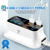 Multiple Port USB Charger HUB Station QC 3.0 8 Port Desktop LCD LED Display 40W