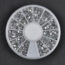 2400PCS Nail Art 1.5mm Rhinestones Glitter Diamond Gems 3D Tips Decoration Wheel