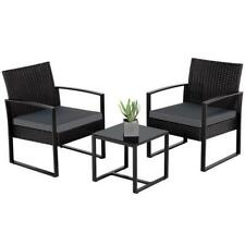 Alexa Noir 3-Piece Wicker Rattan Patio Furniture Set Black, 2 Chairs/Glass Table