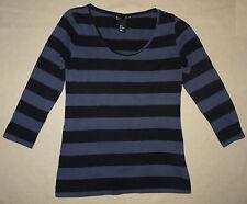 T-shirt rayé gris foncé noir basique manches longues H&M taille M - TBE