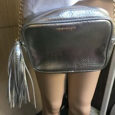 Victorias Secret Metalic Silver Crossbody Bag With Gold Chain Stra
