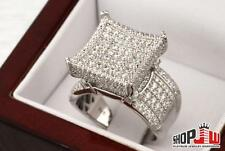 .925 Silver Simulated Diamond Mens Ring Size 9 Iced Out Pinky Fashion Kite Bling