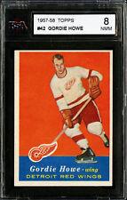 1957-58 TOPPS~#42~GORDIE HOWE~HALL OF FAME MEMBER~DETROIT RED WINGS~KSA 8 NM-MT
