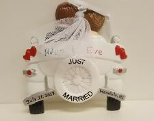 Just Married Vintage Wedding Car Personalized Christmas Tree Ornament Holiday