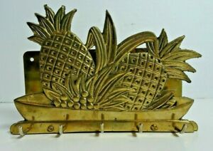 Brass Pineapple Bouquet Key & Mail Holder Wall Mount