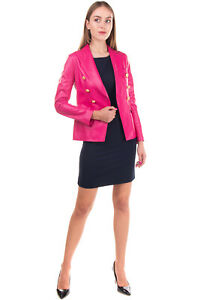 RRP €595 TAGLIATORE Leather Blazer Jacket Size IT 40 / XS Double Breasted