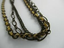 "Satellite Paris Signed 18"" Three-Strand Metal Leather Chain Necklace"