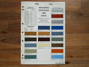 Chrysler Valiant Dulux Colour Chip Sheet/Brochure 1981 Local and Import Colours.