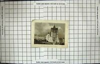 Antique Old Print Engraving St. Mary'S Church Dover Kent Architecture England