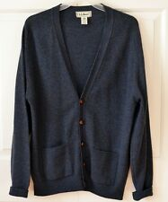 LL Bean Men's M* 100% Wool Cardigan Sweater Dark Blue Specks Scotland