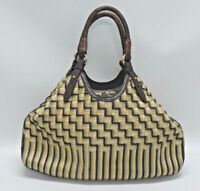 COLE HAAN GENEVIEVE LARGE TRIANGLE WOVEN RAFIA CHECKERED TOTE/HANDBAG - EUC