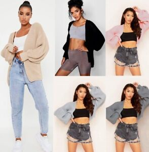 New Womens Ladies Cardigan Chunky Knitted Oversized Balloon Sleeve Jumper Top UK